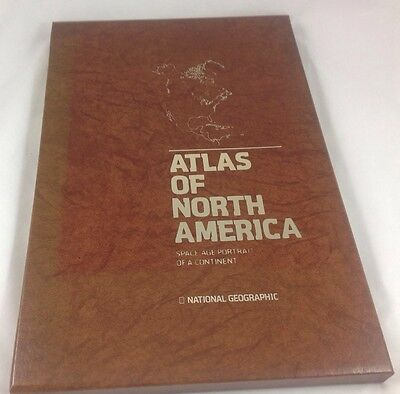 Vtg  HUGE ATLAS SPACE AGE PORTRAIT NORTH AMERICA National Geographic MAP SCALE