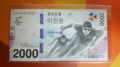 South Korea P-New 2017 2018 Winter Olympic Comm. UNC 2000 Won with folder