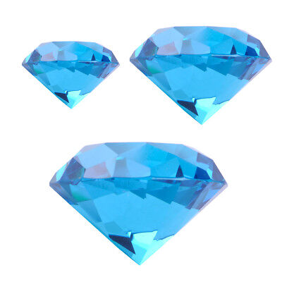 30/40/60mm Blue Crystal Diamond Shape Paperweight Glass Display Gift Ornament