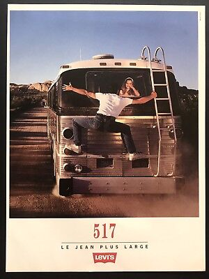 1994 Vintage Print Ad LEVI'S 517 Jeans Bus French Fashion Image