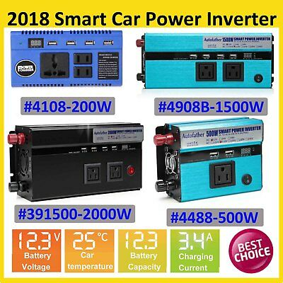 2000W/4000 Watt Car Van Power Inverter 12V DC to 110V AC Adapter Charger Supply