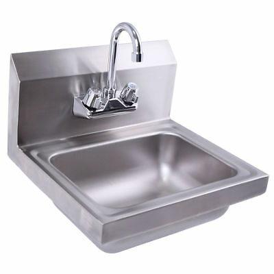 "Wall Mount Stainless Steel Hand Sink with Faucet and Strainer 17"" x 15"""