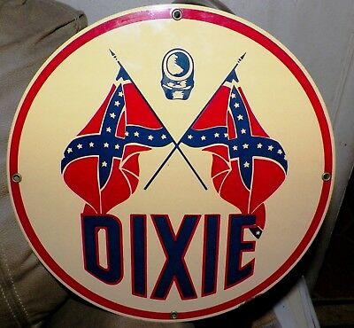 LOOK! Dixie Gasoline Pump Porcelain Sign Ande Rooney NICE!