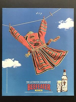 1994 Vintage Print Ad BEEFEATER Gin Laundry On Line Blue Sky