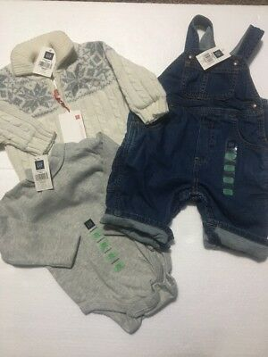 NWT Baby Gap Boys 3-6 Months Outfit. 3 Piece Shirt, Overalls , Sweater