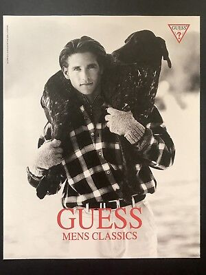 1994 Vintage Print Ad GUESS Men's Fashion Image Photo Man Carrying Dog