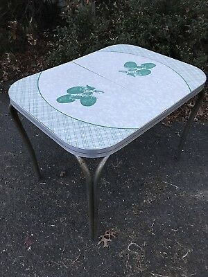 Vintage Retro Formica Chrome Table Strawberry Mid Century Kitchen/Dining Table
