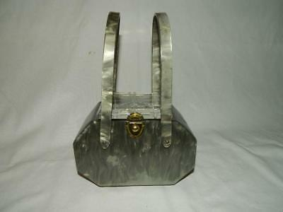 Vintage 1950's Mid Century Pearlized Grey Lucite Purse Clear Carved Top