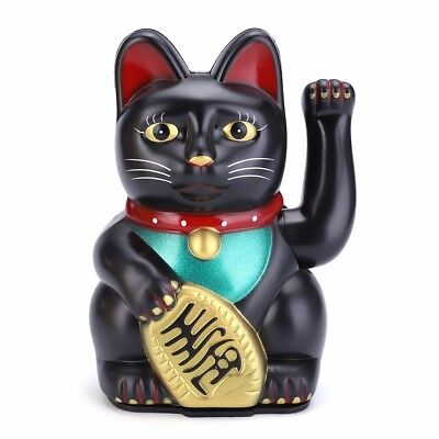 Feng Shui Beckoning Cat Wealth Lucky Waving Kitty  Black Maneki Neko Home Decor