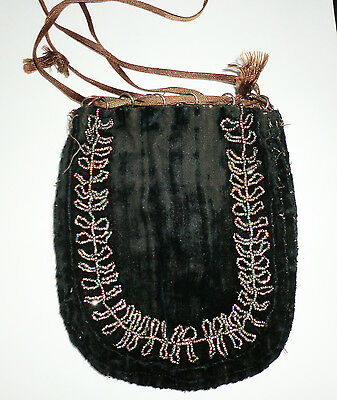Antique Vintage Beaded Purse Bag Deco Nouveau French Steel Cut Dark Blue Velvet