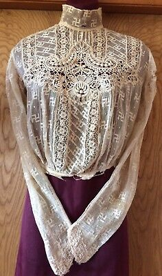 Native American Whirling Logs Swastikas RARE Antique Victorian Shirtwaist Blouse