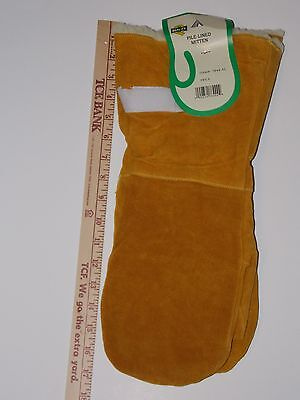 Quality Men's Xl Jumbo Pile Lined Leather Chopper Mittens Long Gauntlet Cuff Tan