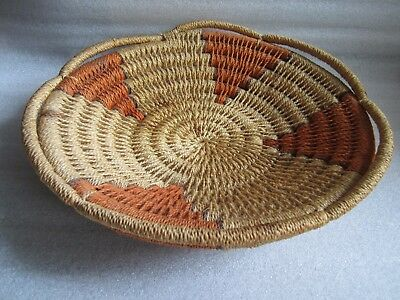 RARE Beautiful Antique / Vintage Handmade Large Polychrome Basket