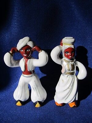 Pair of RARE Beautiful Antique / Vintage Blackamoor Ceramic Figurines