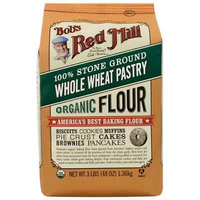 Bob's Red Mill Whole Wheat Pastry Flour Organic 48 oz (3 lbs) (1.36 kg) Pkg