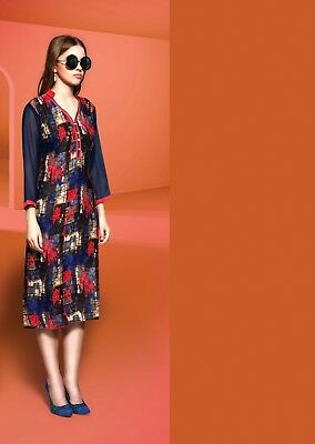 Indian Printed Designer Rayon Regular Wear Blue Color Kurti