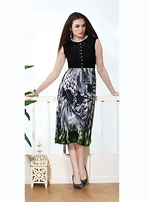 Indian Printed Designer Faux Georgette Party Wear Black Color Kurti