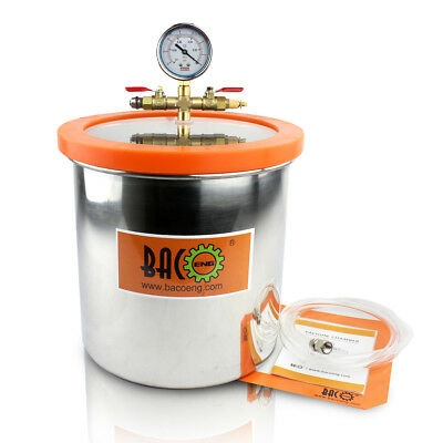 BACOENG 11.4 Litre STAINLESS STEEL VACUUM CHAMBER 250mm(OD) x 250mm(H)