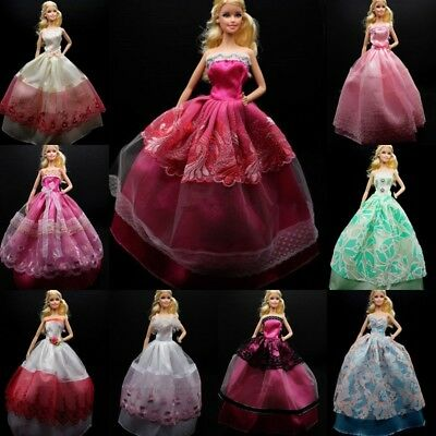 Items 5X Party Wedding Gown Dresses Clothes 10 Pairs Shoes For Barbie Doll
