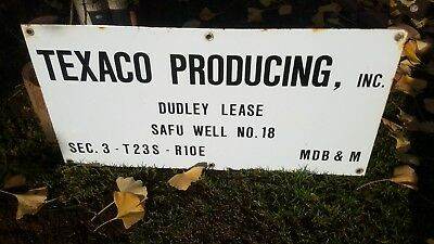 Vintage  Texaco Producing Inc Oil Well Porcelain Dudley Lease Sign 24 X 12