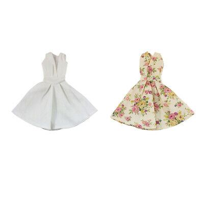 2x Floral Dress Skirt Clothes For Doll Party Gown Outfit Sundress Acc