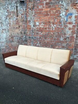 Retro Vintage Continental German 3-Seater Settee - Vintage Upholstered Sofa Bed