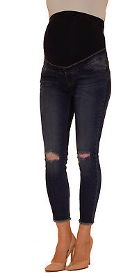 NEW LOOK Over Bump Maternity Ripped Skinny Jeans, Dark Blue Pregnancy Jeans