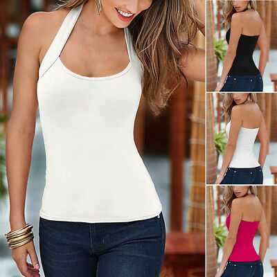 ISASSY donna camiciola gilet canotta T-shirt top indietro Hollow estate camicia