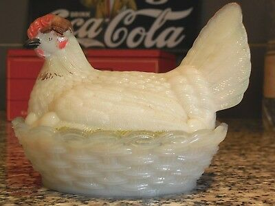 Antique French  OPALINE GLASS CANDY DISH /  HEN on NEST / signed VALLÉRYSTHAL