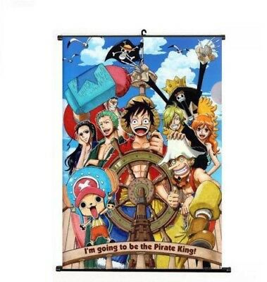 Hot Japan Anime One Piece Straw Hat Pirates Home Decor Poster Wall Scroll40*60cm