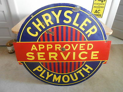 """Vintage Sign Chrysler Plymouth Approved Service Double Sided Porcelain 441/2x42"""""""