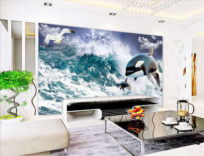 Fierce Concise Sea 3D Full Wall Mural Photo Wallpaper Printing Home Kids Decor