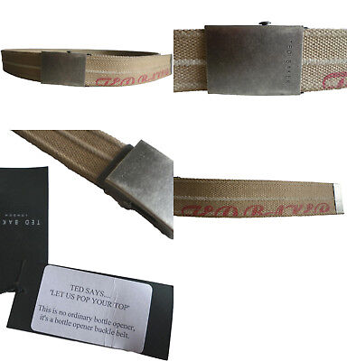 Ted Baker Canvas Belt With Bottle Opener Fastener Buckle Mens Bnwt New 34 34""