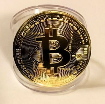BITCOIN!! Gold Plated Physical Bitcoin in protective acrylic case BTC Collection