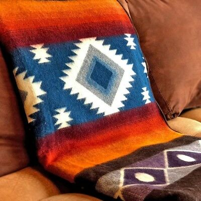 "EXTRA LARGE SOFT & WARM ALPACA WOOL BLANKET PLAID 75""x90"" ANDEAN DESIGN"