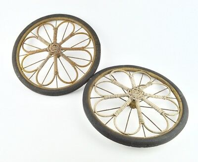 Pair Antique Metal Wicker Floral Wagon Carriage Cart 2 Wheels 14 inch Wall Decor