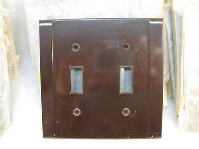 11 New Old Stock Vintage Art Deco Brown Bakelite 2 Gang Switch Wall Plate Covers