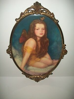 """WILLIAM SERGEANT KENDAL 1909s  """"PSYCHE"""" - Litho in Antique Oval Frame"""