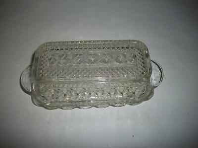 Vintage WEXFORD by Anchor Hocking Pattern Glass BUTTER DISH 1980's with Lid Mint