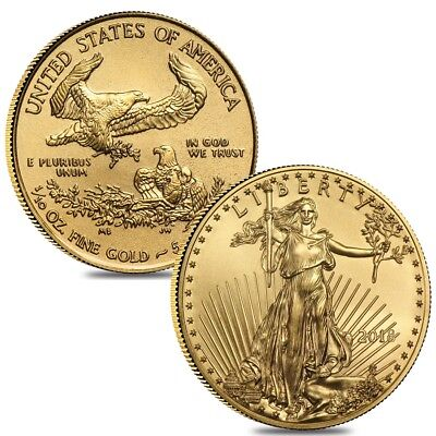 Lot of 2 - 2018 1/10 oz Gold American Eagle $5 Coin BU