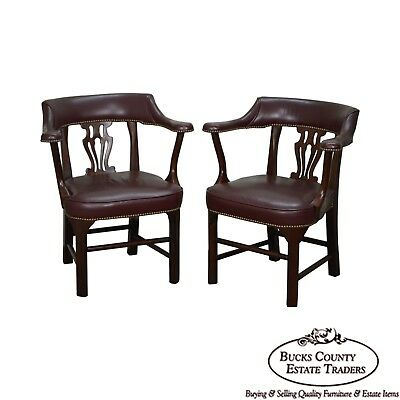 Chippendale Style Pair of Mahogany & Leather Office Arm Chairs