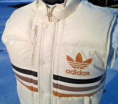 Retro Adidas Puffer Vest White w/ Logo & 3 Stripes 80's Look, Down Filled puffy