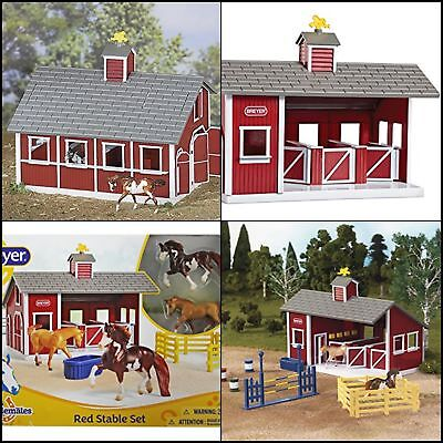 Stablemates Red Stable Set Horse Set Kids Farm Toy Red Barn Pretend Play Room