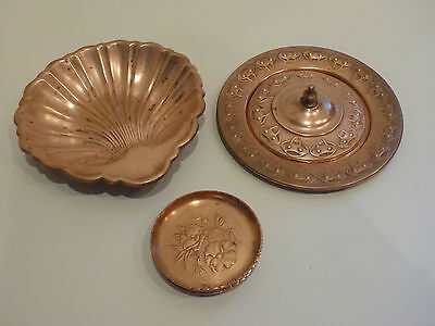 Lot of 6 Copper Items Shell Shape Dish 3 Floral Coasters Lid & Plate Set