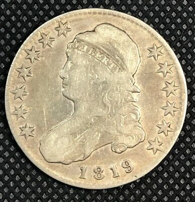 1819 US Capped Bust Silver 50 Cent Half Dollar Coin-AU-Detail-Improperly Cleaned