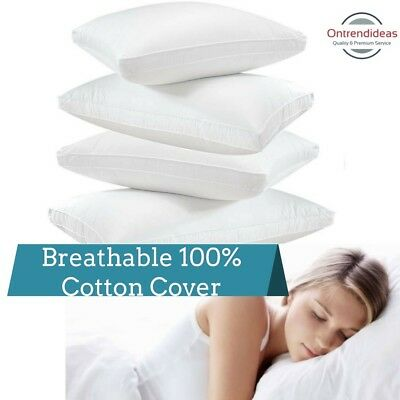 100% Cotton Cover Hotel Quality Gusseted Pillows | Single Twin or Four Pack
