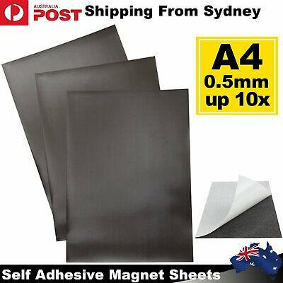 1/2/5/10x A4 Magnetic Magnet Sheets Self Adhesive 0.5mm Thickness Crafts Materia
