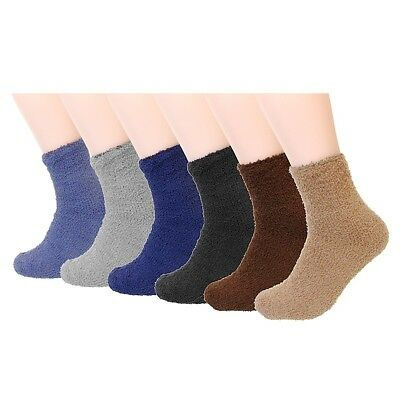 New Lot 6-12 Pairs Mens Socks Soft Cozy Fuzzy Winter Warm Ankle Room Solid Bed