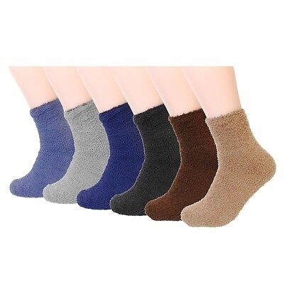 New Lot 6-12 Pairs Mens Soft Cozy Fuzzy Winter Warm Ankle Room Solid Bed Socks