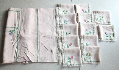 "Vintage Hand Embroidered Rectangular Tablecloth & 12 Napkins Cream Tulips 78""x57"